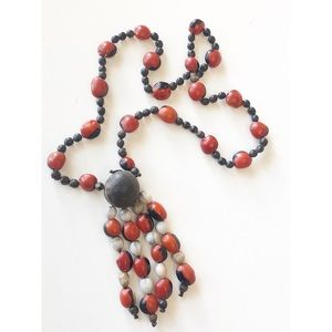 "Tribal Boho Beaded Necklace 14.5""length"